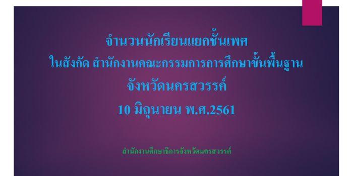 จำนวนนักเรียนแยกชั้นเพศ ขนาดโรงเรียน ในสังกัด สพฐ.จังหวัดนครสวรรค์  10 มิถุนายน พ.ศ.2561